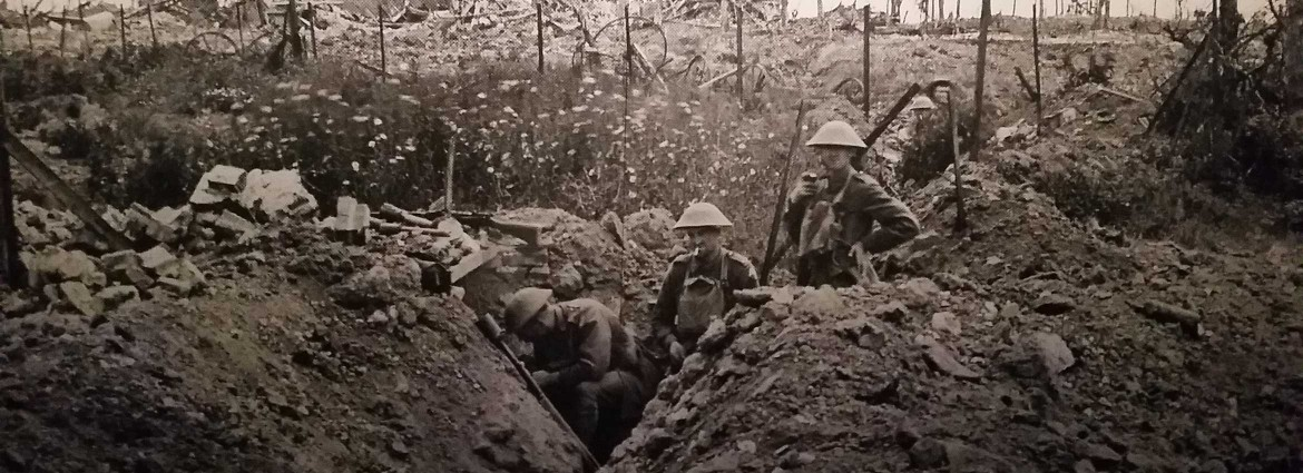 Soldiers in the trenches during World War I