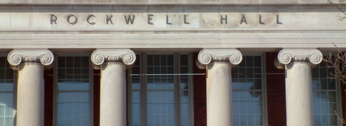 Exterior photo of columns at entrance to Rockwell Hall