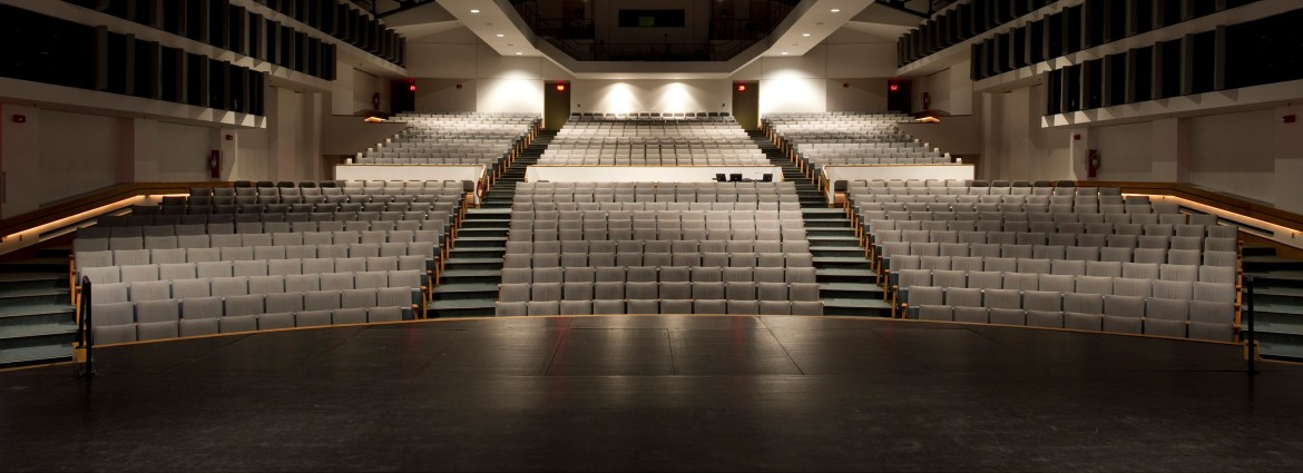 View from the stage of Performing Arts Center seating area