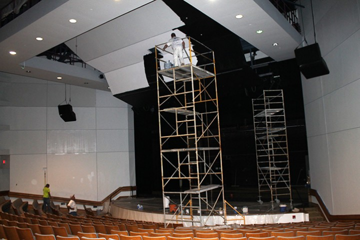 Scaffolding is needed to repaint the auditorium walls.