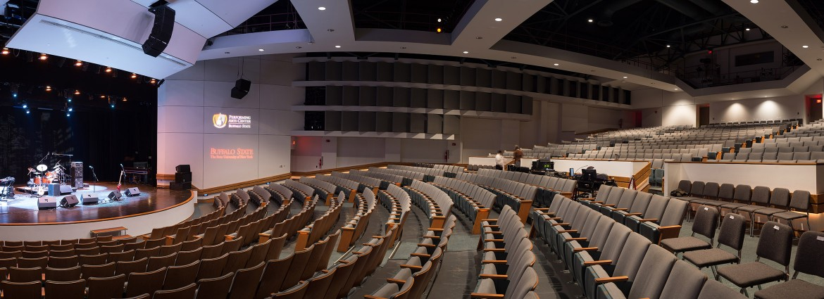 View of Performing Arts Center seating and stage from house left