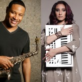 Kim Waters holding a saxophone and Kayla Waters holding a keyboard