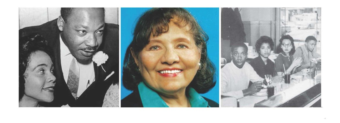 Set of 3 photos: Diane Nash with Martin Luther King, Diane Nash portrait, and Diane Nash with 3 other people at a lunch counter.