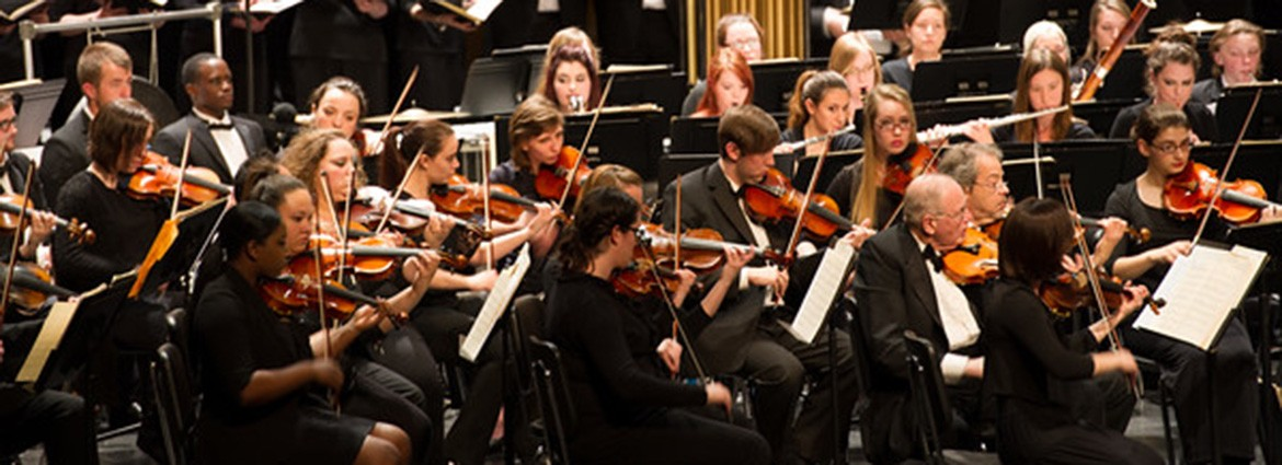 Members of the Buffalo State Philharmonia Orchestra performing
