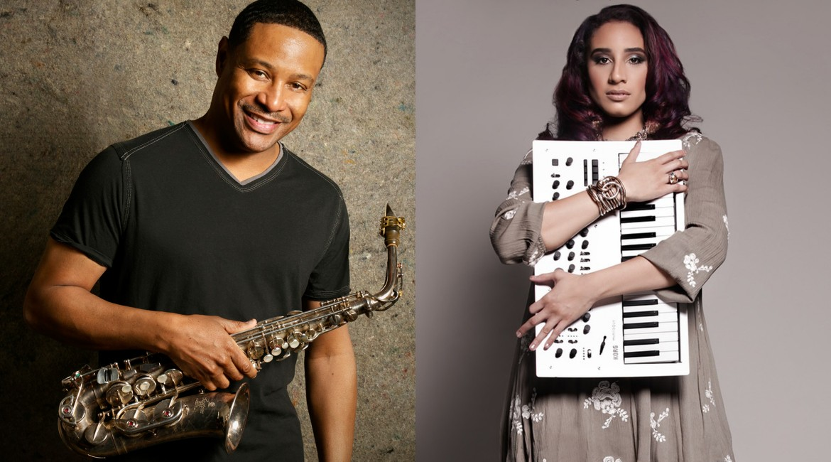 Kim Waters holding saxophone and Kayla Waters holding keyboard