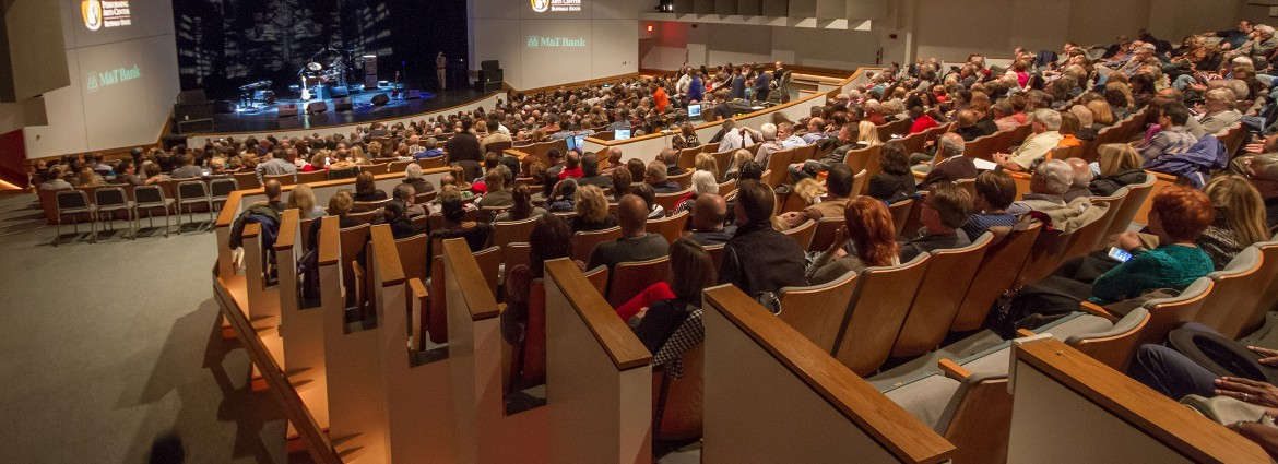 View from rear left of auditorium of a full house in the Performing Arts Center